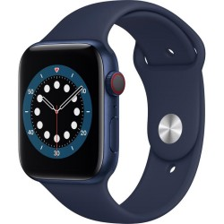 Apple Watch Series 6 GPS + Cellular, 44mm Blue Aluminium Case with Deep Navy Sport Band