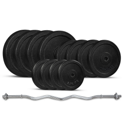 Lifespan Fitness 40kg Curl Bar Standard Weight Set